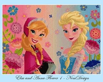 Elsa and Anna Flower 1 - cross stitch pattern - cross stitch frozen - cross stitch disney - frozen pattern - PDF pattern - instant download!