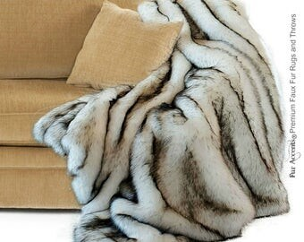 Luxurious Arctic Fox Faux Fur Throw Blanket  - Black Tip or Brown Tip - Silky Soft Minky Cuddle Fur Back - Fur Accents Designs USA