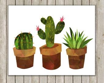 8x10 Cactus Print, Watercolor Art, Art Poster, Nursery Decor, Succulent Printable, Western Art, Cacti Poster, Instant Download