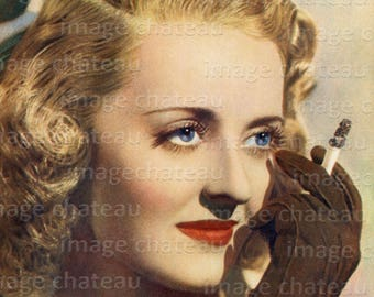 BETTE DAVIS with Cigarette in Full Color Digital DOWNLOAD Printable Classic Actress and True Movie Star Big Eyes for Paper Crafts Framing