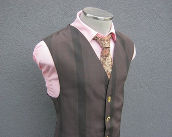 46 XL  Brown Rayon Vest / Waistcoat Size 46XL / Wedding / Mens Vest / 46 Extra Large / Made in Canada