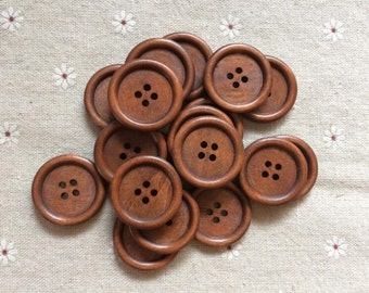3 different brown -- 60 Pcs 30mm Wood button 4holes  (W170-N)
