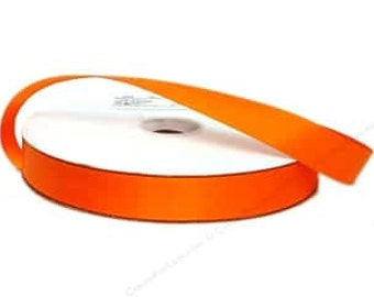 "5 Yards Of Orange Double Faced Satin Ribbon, Two Widths Available: 7/8"" & 1.5"", Orange Ribbon, Orange Satin Ribbon"