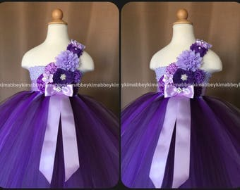 Flower girl tutu dress in purple ,lavender and plum