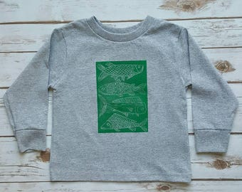 Fish Shirt 4T Toddler Long Sleeved (gray and green, 100% cotton, toddler birthday, fisherman kid)