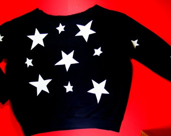 Black Sweater Jumper with white stars. Unique clothing