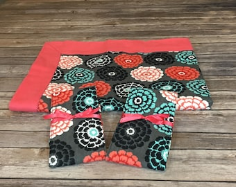 Baby Gift Set - Coral and Turquoise Flowers