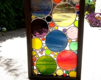 Stained Glass Panel Geometric Abstract Art Framed Stained Glass Art Suncatcher with Display Stand Glass Circles Home Decor Housewarming Gift