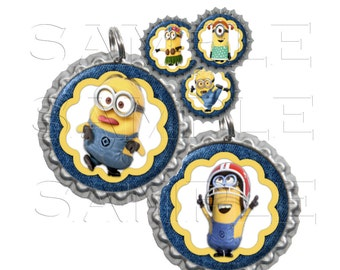 Minions 4 Bottle Cap Images, Clip Art,1 Inch Circles, Cupcake Toppers, Stickers,Buttons, Digital Download, DIY Printable
