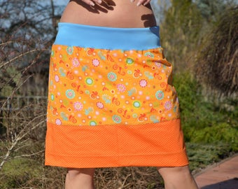 mini skirt,midi skirt,orange,flowers,floral pattern