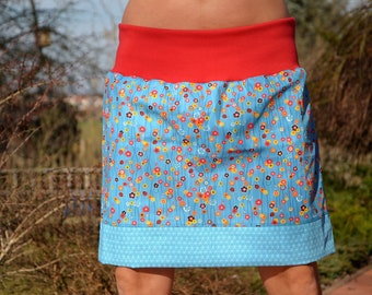 mini skirt short skirt blue flowers