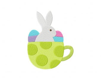 Easter Green Teacup Machine Embroidery Design