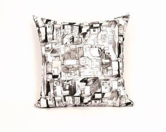Geometric Black and White Urban Pillow, P-2-191