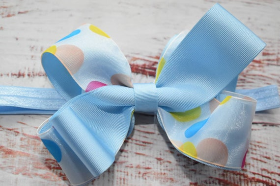 Blue Polka Dot Bow - Baby / Toddler / Girls / Kids Headband / Hairband / Hair bow / Barrette / Hairclip