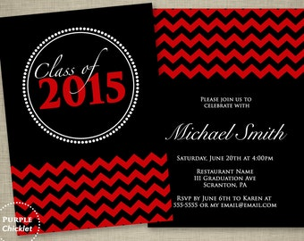 Red Graduation Invitation Class of 2018 Red Chevron Double Sided Black Party Invitation Printable JPG File Invite 17a