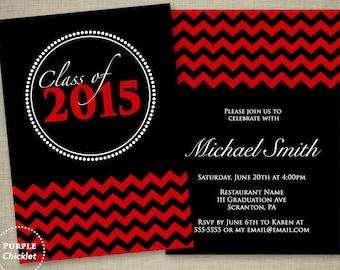 Red Graduation Invitation Class of 2017 Red Chevron Double Sided Black Party Invitation Printable JPG File Invite 17a
