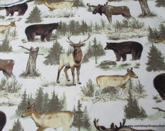 Flannel Fabric - Animals in Nature - 1 yard - 100% Cotton Flannel
