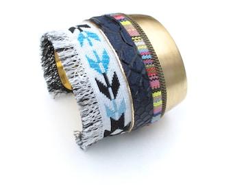 Navajo cuff bracelet brass chain fabric