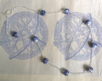 Blue and White Chinese Porcelain Bead Necklace with Silver Plated Chain and Toggle Clasp