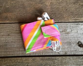 Wallet and Earbud Holder: 80's color stripe