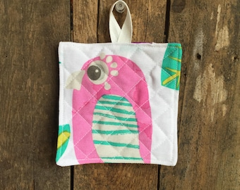 Child's Hot Pad (matches Apron and Oven Mitt play set), parrots