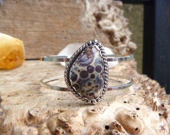 Asteroid Jasper sterling silver cuff bracelet // size M  // jasper jewelry // orbicular jasper