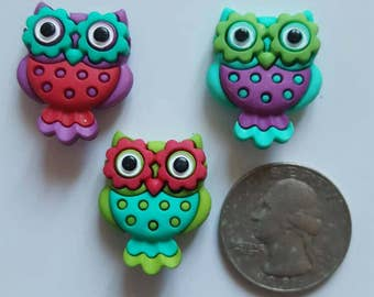 Three funky Owl shank buttons