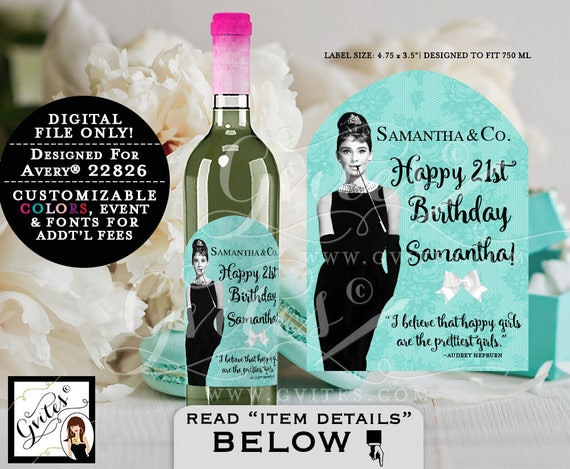 Breakfast at Tiffany's  Audrey Hepburn Happy Birthday Wine LABELS bottle label, sticker. {Designed For Avery® 22826} PRINTABLE