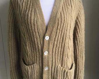 Vtg Sweater Cardigan Wool Mohair Alpaca Olive Green Grandpa Granny Jantzen USA