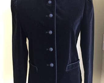 Vtg Black Velvet Jacket Coat Crop Fitted Velvet Edwardian Goth Bertaldi Sz 11/12