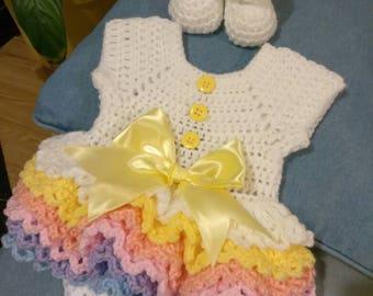 Crochet rainbow onsie with booties