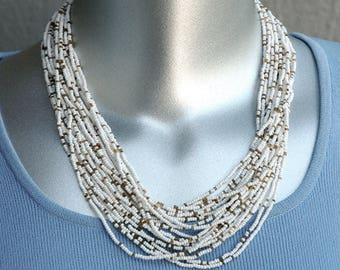 White and Gold Seed Bead Torsade Necklace Vintage