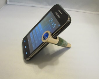 Handmade Smart Phone Stand &Stylus ( Gold finish in a Green Circuit Board)with a black felt drawstring pouch