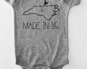 Made in NC, North Carolina Baby Onesie -6 month onesie, Grey with Black print, screen printed