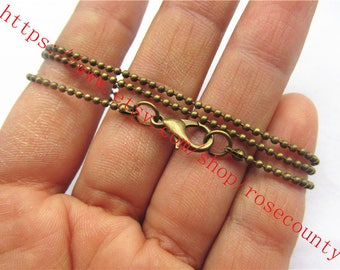 Wholesale 100pcs 16 inch antiqued bronze 1.5mm round Ball chain necklace with lobster clasps--very shiny