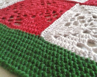 Red, Green and Beige  Crocheted Baby Blanket, Granny Square Blanket, Handmade Blanket, Pram Blanket, Lap Blanket, Cosy Blanket