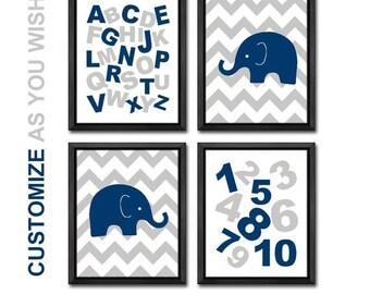 alphabet nursery navy gray, boy decor, chevron nursery, abc playroom art, elephant kids wall art, alphabet boys room decor, boy nursery art
