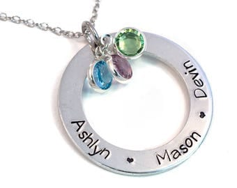 Personalized Birthstone Necklace - Eternity Circle Necklace - Personalized Name Necklace - Washer Style Necklace - Handstamped Aluminum