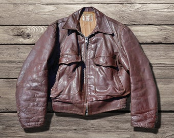 vintage 50s steerhide leather motorcycle / flying jacket by Cooper