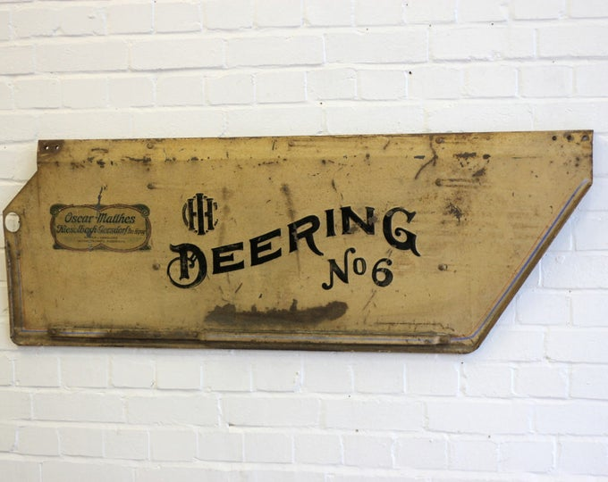 Early 20th Century Embossed Harvester Tractor Panel Sign