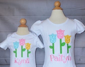 Personalized Tulips Applique Shirt or Onesie Girl