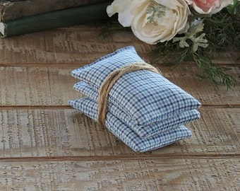 Blue Check Lavender or Balsam Sachets Set of 3, Organic Lavender, Lavender Pillows, Natural Aroma Therapy