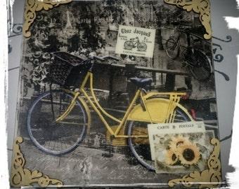 yellow bicycle - wooden box, yellow bike-keepsake pox,gift for ride bike lovers,Trinket box, Decoupaged box,Tea bags box,decoupaged box,
