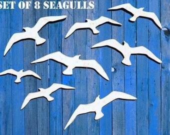 Seagulls Flock Of Wooden Seagull Coastal Wall Decor Rustic Beach Wood