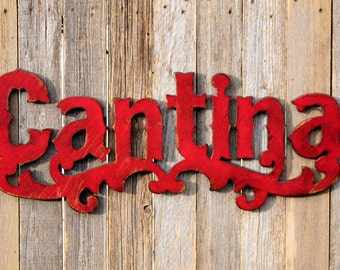 Cantina Rustic Sign Rustic Sign Western Sign Vintage Look Cantina Spanish Bar Distressed Sign Bar Mexican Bar Mexican Cantina Cantina Sign