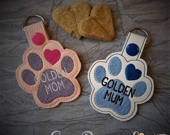Golden - Golden Retriever - Mom AND Mum Paw Print - In The Hoop - Snap/Rivet Key Fob - DIGITAL Embroidery Design