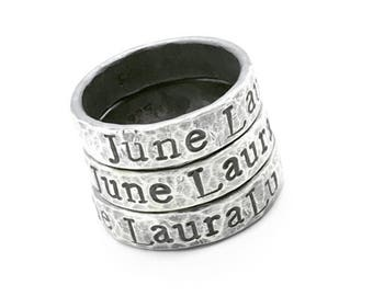 Hand stamped Sterling Silver Ring with your choice of names or mantra 5mm