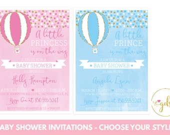 PRINTABLE Hot Air Balloon Baby Shower Invitation Watercolor/Faux Gold  Glitter