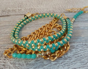 5 times Wrap Bracelet, Gold and Turquoise Crystal beaded with Gold chain weaved together with Turquoise  cotton waxed cord