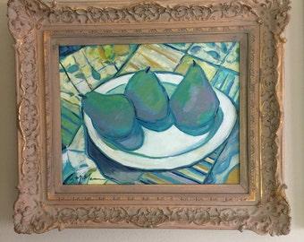 Original oil still life with fruit  post impressionist